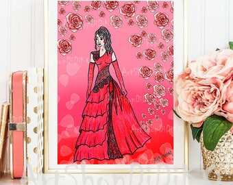 Love and Roses,Red dress, Digital Print, Fashion Digital Print, Red Roses Prints, Mode, Red Dress Print, digital download, instant download
