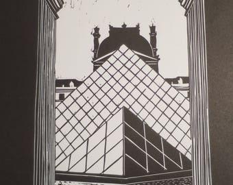 Pyramide du Louvre - Linogravure