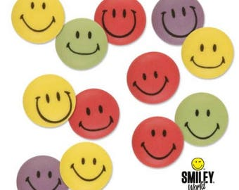 Assorted Colour Smiley Face Sugar Decorations - Party Cupcake, Cake and Cookie Sugar Decorations. Edible Cake Toppers. Pack of 24.