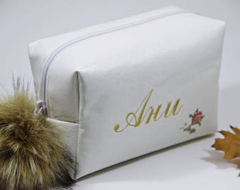 Custom Makeup Bag, Valentine day Cosmetic Bag, Bridesmaid Makeup Bag, Bridesmaid Gift, Cosmetic Bag, Lither Makeup Bag, Small Travel Bag