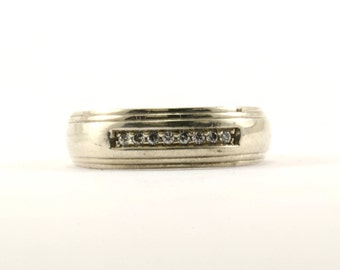 Vintage Men's Wedding Band CZ Crystal Ring 925 Sterling Silver RG 673-E
