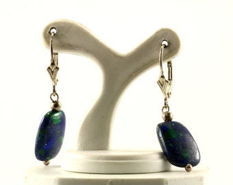 Vintage Square Lapis Lazuli Stone Lever Back Earrings Sterling Silver ER 695