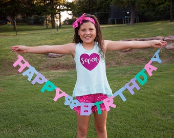 7th Birthday shirt, seventh birthday tee for girls, glitter heart seven year old sleeveless birthday shirt.