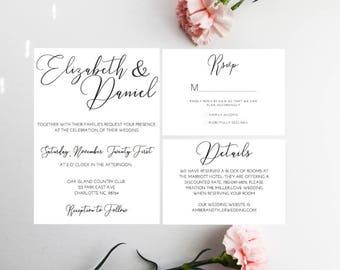 PRINTED Minimal Wedding invitation, Calligraphy Wedding Invitation, Minimal Wedding, Minimalist Wedding invite, Standard wedding invitations