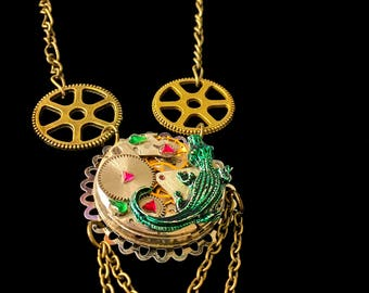 Steampunk watch gears Bronze Crocodile necklace