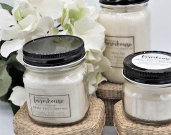 White Tea + Berries - Soy Candle - Jar Candle - Mason Jar - Farmhouse - Scented Candle - Spring - Farmhouse Decor - Candle - Natural