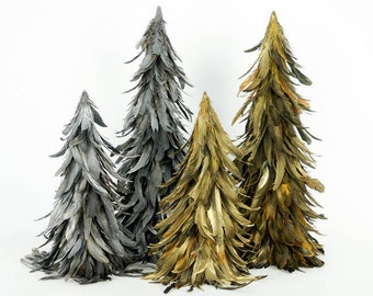 16 gilded metallic feather trees - Feather Christmas Trees