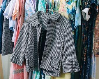 Vintage Black and White Herringbone Pattern Blazer Jacket