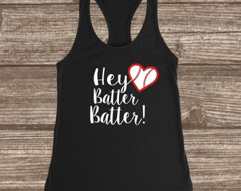 Hey Batter Batter Baseball Women's Racerback Tank