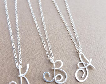 Initial necklace letter necklace personalized jewelry Monogram necklace Name necklace Initial necklace 925 Sterling Silver jewelry Di&De