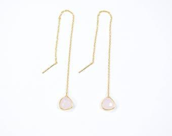 rose quartz earring,Threader Earrings, gemstone earring,pink color earring,trillion earring,natural stone earring,long chain earring ,