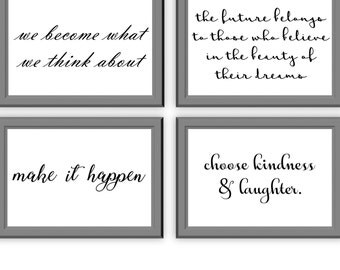 Motivational quotes // Set of 4 // Typography Print // Home Decor // Wall Art // 6x4 // A5 // Office Work
