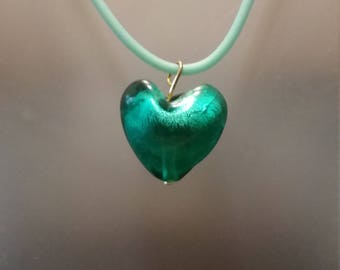 Green foiled glass heart pendant necklace