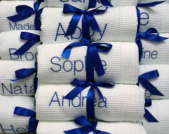 Monogram set of FIVE Bath Wraps, Spa Wrap, Towel Wrap, Waffle Towel Wrap, Monogram Towel  Wrap
