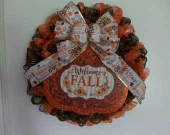 Thanksgiving Mesh Wreath, Thanksgiving Wreath, Mesh Wreath, Fall Wreath, Fall Mesh Wreath
