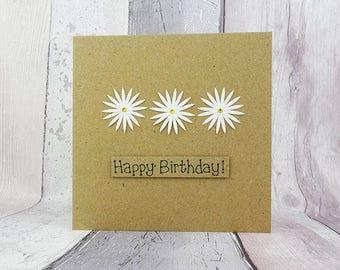Daisy birthday card, Handmade birthday card, Floral birthday card, Daisy chain card, Card for Mum, Mother's Day card, Gerbera daisy card