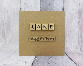 Personalised Scrabble birthday card, Name in wooden Scrabble tiles, Custom handmade card with alphabet tiles, Happy Birthday card