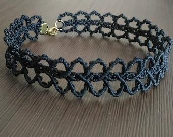 Choker macrame Necklace Black Lace choker Russian choker Free shipping