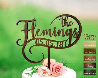 Wedding cake topper customized, Custom personalized wedding cake topper, Surname cake topper, Rustic name cake topper, Personalized, CT#293