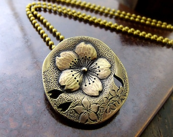 SAKURA Necklace, Cherry Blossoms, Brass Pendant Necklace, Brass Engraving