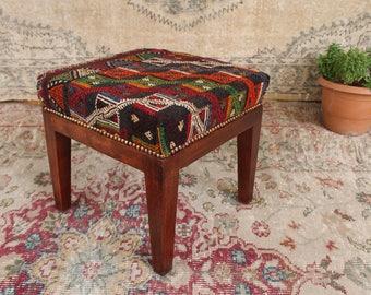 Turkish Kilim Rug Footstool Wood Chair Handcrafted Vintage Rug Chair  Ottomans Bohemian Furniture Handmade Vintage Home