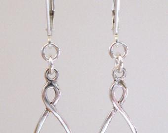 Sterling Silver Celtic Drop Earrings - Sterling Silver Lever-Backs
