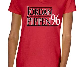"LADIES Michael Jordan Chicago ""Jordan Pippen 96"" V-NECK T-shirt"