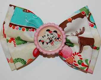 Christmas Mickey and Minnie Inspired Disney Bow