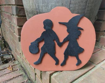 Retro Boy and Girl Trick or Treating on Pumpkin Wood Cutout