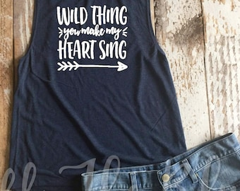 Wild Thing You My Heart Sing Navy Muscle Tank