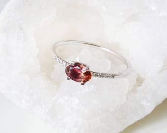 Simple engagement ring, Tourmaline engagement ring, Diamond engagement ring, White gold engagement ring, Unique, Delicate ring, Promise ring
