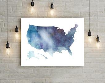 United States Map Wall Art, Usa Map Print, United States Map Print, Usa Map Wall Art, Patriotic Wall Decor, America Map Print, Usa Travel