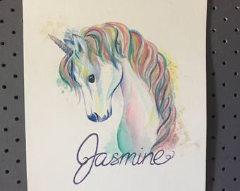 Customised Unicorn Watercolour