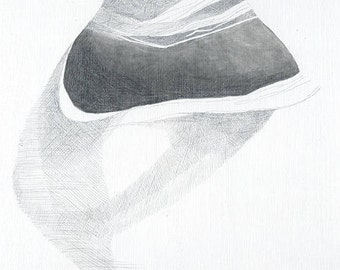 Silver Sand - abstract drawing of sea rock - graphites on plywood