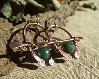 Tribal earrings raw copper sterling silver green agate modern chic urban organic earrings