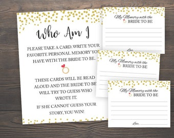 Bridal Shower Games, Who I am Game, Printable Shower Games, Gold Confetti, Gold Bridal Shower, Memories of Bride Game, Bridal Quiz, GCB3