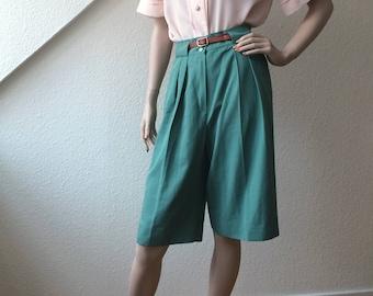 Green safari style shorts
