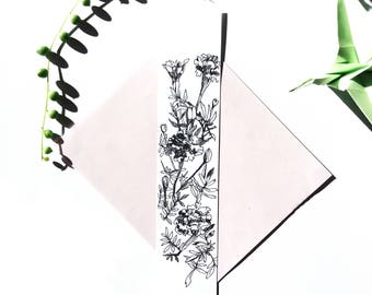 Bookmark flower drawing Tagetes eyelet from India, plant illustration, black and white handmade card original Botanical drawing ink