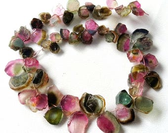 Amazing quality Brand new Full 8 inch strand Natural WATERMELON TOURMALINE Slices briolettes,Drilled slices, 4.5x5 -- 9x10.5 mm [E3046]