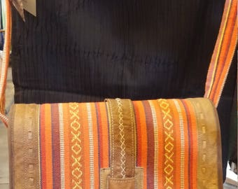 ETHNIC Nepali Stock Exchange. summer gift-fabric made to the frame in leather. Handmade