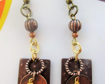 Geometric Boho Hammered Metals Earrings