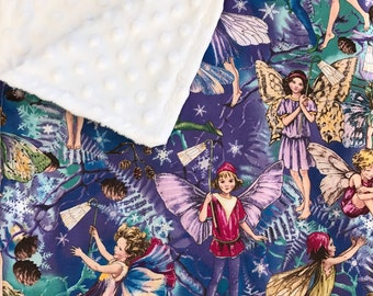 Fairy Print Baby Blanket, Minky Blanket, Fairy Theme, Baby Girl Blanket, Fairy Nursery Bedding, Michael Miller Enchanted Flower Fairies