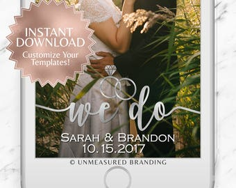 """Silver Foil """"We Do"""" Wedding Snapchat Geofilter Instant Template"""