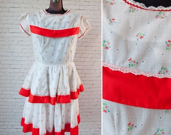 Kate Schorer 70s Dress, Kate Schorer Originals Square Dance Dress, vintage Rockabilly dress, vintage Western dress, Patio Country dress