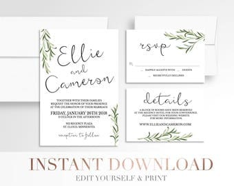 Printable Simple Greenery Wedding Invitation // Laurels // Modern Wedding Invitation Suite // Digital // Branches // Leaves  // Templett