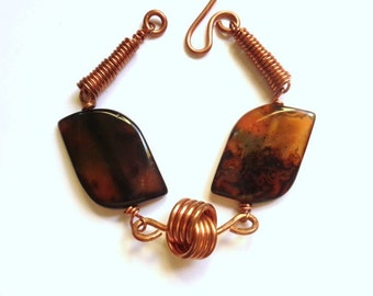 Copper and brown agate Bracelet