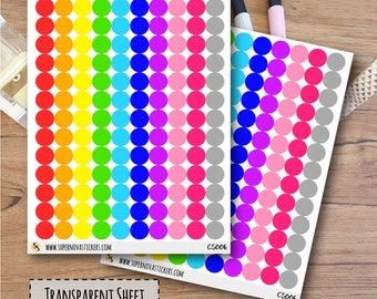 Clear Colourful Dot Stickers - 6mm || CS006 || Planner Stickers
