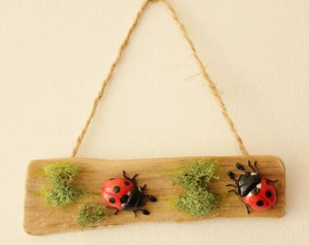 OOAK Wall decoration - Ladybugs and moss on wood