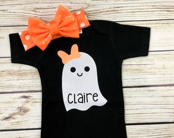 Baby Girl Halloween Ghost Cute Bow Name Bodysuit Outfit