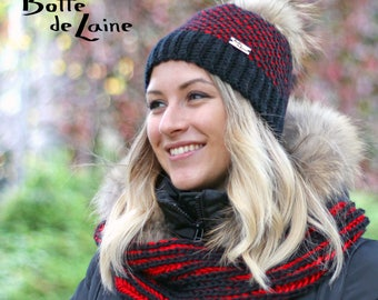 Women hat, ARTIC, winter hat black and red, Tunisian crochet hook, adult size